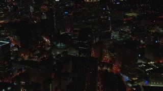 CAP_013_031 - HD stock footage aerial video of office buildings near skyscrapers at night, Downtown Atlanta, Georgia