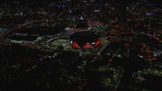 CAP_013_054 - HD stock footage aerial video of slowly approaching the stadium at nighttime, Atlanta, Georgia