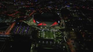CAP_013_057 - HD stock footage aerial video of the stadium at nighttime, Atlanta, Georgia