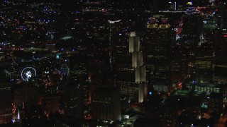 CAP_013_066 - HD stock footage aerial video of Georgia Pacific Tower and nearby skyscrapers at night, Downtown Atlanta, Georgia