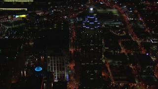 CAP_013_071 - HD stock footage aerial video of orbiting around SunTrust Plaza at night, Downtown Atlanta, Georgia