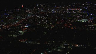CAP_013_080 - HD stock footage aerial video of approaching Georgia Institute of Technology campus at night, Atlanta, Georgia