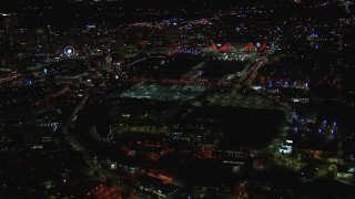 CAP_013_082 - HD stock footage aerial video of an approach to the stadium at night, Atlanta, Georgia