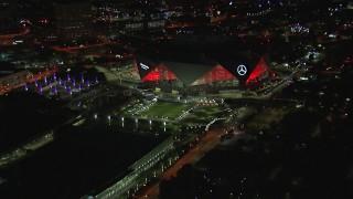 CAP_013_083 - HD stock footage aerial video of slowly flying toward the stadium at night, Atlanta, Georgia