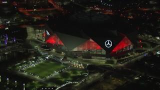 CAP_013_084 - HD stock footage aerial video of a close orbit of the stadium at night, Atlanta, Georgia