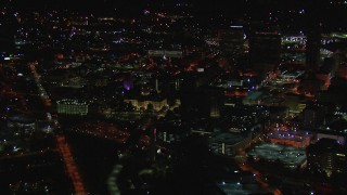 CAP_013_088 - HD stock footage aerial video of orbiting the state capitol building at night, Downtown Atlanta, Georgia