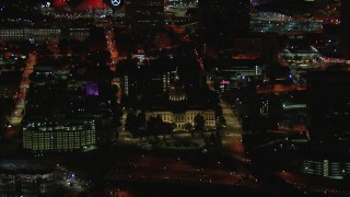 CAP_013_089 - HD stock footage aerial video orbiting the state capitol building at night, Downtown Atlanta, Georgia