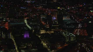CAP_013_093 - HD stock footage aerial video of flying away from the state capitol building at night, Downtown Atlanta, Georgia