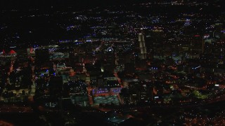 CAP_013_097 - HD stock footage aerial video of a wide view of city buildings and skyscrapers at night, Downtown Atlanta, Georgia