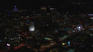 CAP_013_112 - HD stock footage aerial video of a view of the downtown skyline at night, Downtown Atlanta, Georgia
