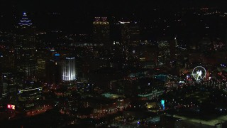 CAP_013_113 - HD stock footage aerial video of city's downtown skyline at night, Downtown Atlanta, Georgia