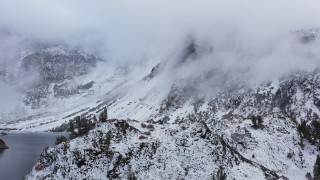 CAP_015_028 - 4K stock footage aerial video of snowy mountains in the Sierra Nevadas, Inyo National Forest, California
