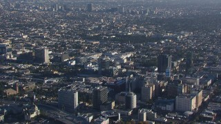 CAP_016_001 - HD stock footage aerial video of zooming in on an apartment and college buildings in Hollywood, California