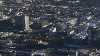 CAP_016_002 - HD stock footage aerial video zoom to closer view of apartment and college buildings in Hollywood, California