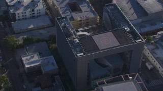 CAP_016_004 - HD stock footage aerial video of orbiting Emerson College in Hollywood, California