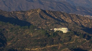 CAP_016_028 - HD stock footage aerial video of orbiting Griffith Observatory in Los Angeles, California