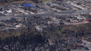 CAP_018_034 - HD stock footage aerial video of a neighborhood devastated by fire, Malibu, California