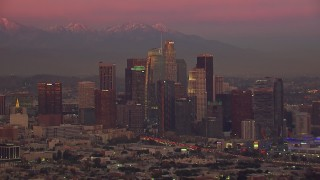 CAP_018_102 - HD stock footage aerial video of slowly passing Downtown Los Angeles skyscrapers at sunset, California