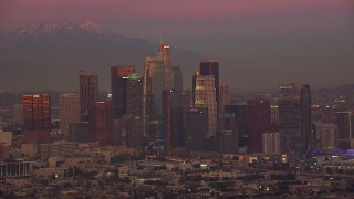 CAP_018_103 - HD stock footage aerial video of the Downtown Los Angeles skyline at sunset, California
