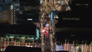 CAP_018_160 - HD stock footage aerial video of holiday decorations at The Grove shopping mall at night in Los Angeles, California