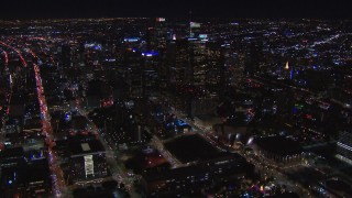 CAP_018_174 - HD stock footage aerial video of flying away from the city's skyline at night in Downtown Los Angeles, California