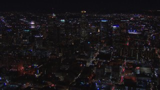 CAP_018_177 - HD stock footage aerial video of flying by the city's skyline at night in Downtown Los Angeles, California