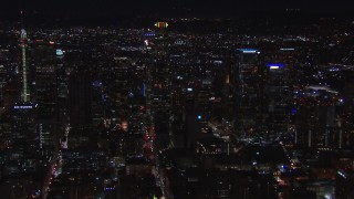 CAP_018_178 - HD stock footage aerial video of US Bank Tower and the city's skyline at night in Downtown Los Angeles, California