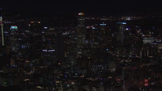 CAP_018_180 - HD stock footage aerial video a view of US Bank Tower and the city's skyline at night in Downtown Los Angeles, California