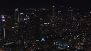 CAP_018_181 - HD stock footage aerial video circling US Bank Tower and the city's skyline at night in Downtown Los Angeles, California