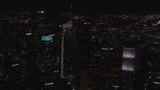 CAP_018_202 - HD stock footage aerial video orbit Wilshire Grand Center at night, Downtown Los Angeles, California