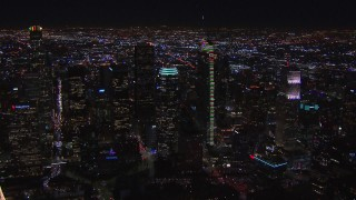CAP_018_203 - HD stock footage aerial video wide orbit of Wilshire Grand Center at night, Downtown Los Angeles, California