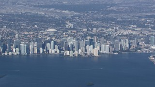 CAP_020_006 - HD stock footage aerial video of the city's downtown skyline, Downtown Miami, Florida