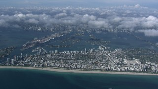 CAP_020_012 - HD stock footage aerial video of a high altitude view of South Beach, Miami, Florida