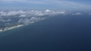 CAP_020_013 - HD stock footage aerial video of a high altitude view of Miami Beach and the Atlantic Ocean, Florida