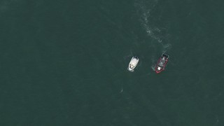 CAP_020_034 - HD stock footage aerial video of a bird's eye view of boats near Miami, Florida