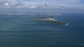 CAP_020_037 - HD stock footage aerial video of flying by Key Biscayne, Miami, Florida