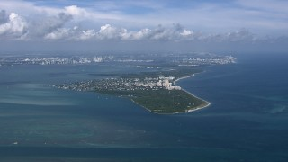 CAP_020_039 - HD stock footage aerial video of a wide view of Key Biscayne, Miami, Florida