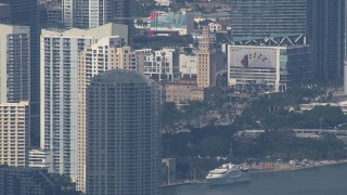 CAP_020_045 - HD stock footage aerial video of flying by the city's skyscrapers, Miami, Florida