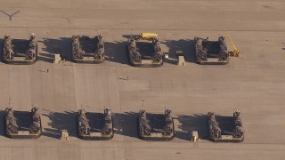 CAP_021_031 - HD stock footage aerial video of panning across military craft at Camp Pendleton South, California