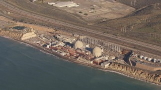 CAP_021_047 - HD stock footage aerial video of the San Onofre Nuclear Power Plant, California