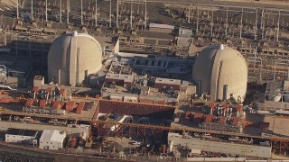 CAP_021_048 - HD stock footage aerial video of orbiting the San Onofre Nuclear Power Plant, California
