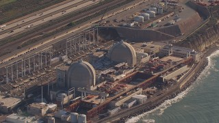 CAP_021_050 - HD stock footage aerial video of a reverse view of the San Onofre Nuclear Power Plant, California