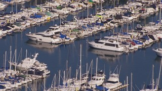 CAP_021_061 - HD stock footage aerial video of yachts and sailboats at the harbor in Dana Point, California