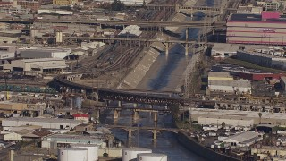 CAP_021_087 - HD stock footage aerial video of bridges spanning the Los Angeles River, Boyle Heights, California
