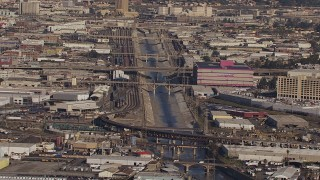 CAP_021_088 - HD stock footage aerial video of passing bridges spanning the Los Angeles River, Boyle Heights, California