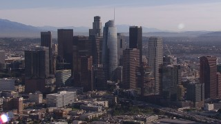 CAP_021_100 - HD stock footage aerial video flyby towering skyscrapers in the city's skyline, Downtown Los Angeles, California