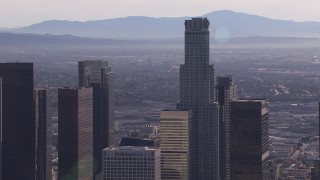 CAP_021_103 - HD stock footage aerial video flyby US Bank Tower skyscraper, Downtown Los Angeles, California