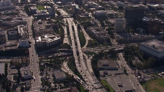 CAP_021_106 - HD stock footage aerial video of the 101 / 110 interchange with heavy traffic, Downtown Los Angeles, California