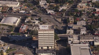 CAP_021_112 - HD stock footage aerial video zoom to a closer view of an office building in Echo Park, Los Angeles, California