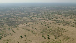 CAP_026_008 - HD stock footage aerial video of a wide view of savanna, Zimbabwe